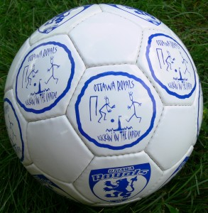 custom club logo plus a custom tournament logo in a 32-panel regulation soccer ball